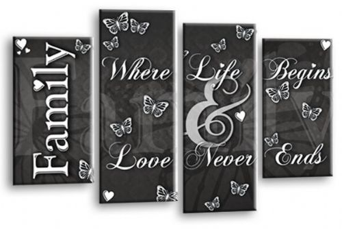 Family Love Quote Grey White Canvas Wall Art Picture Print